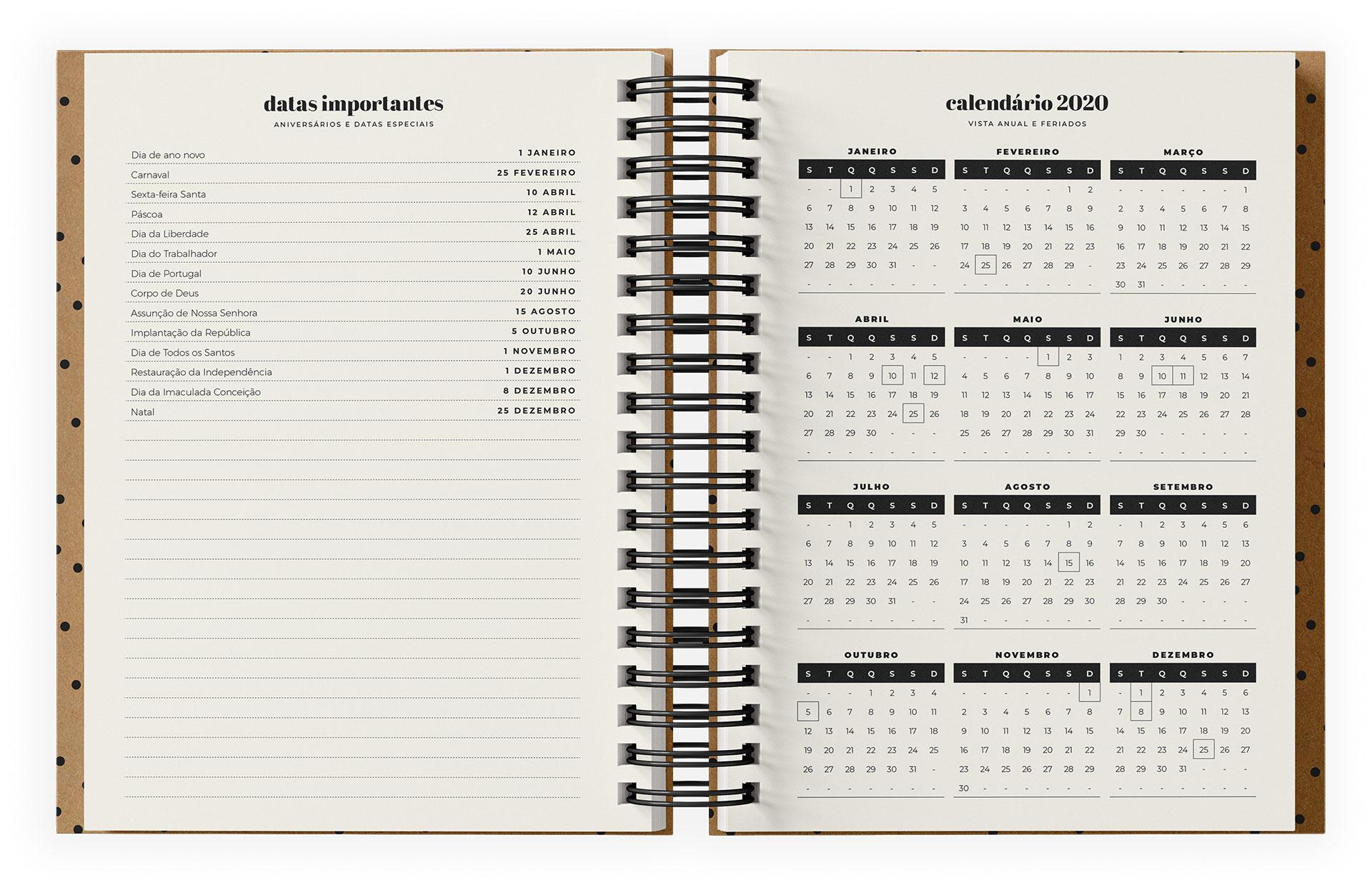 Datas importantes e calendário 2020