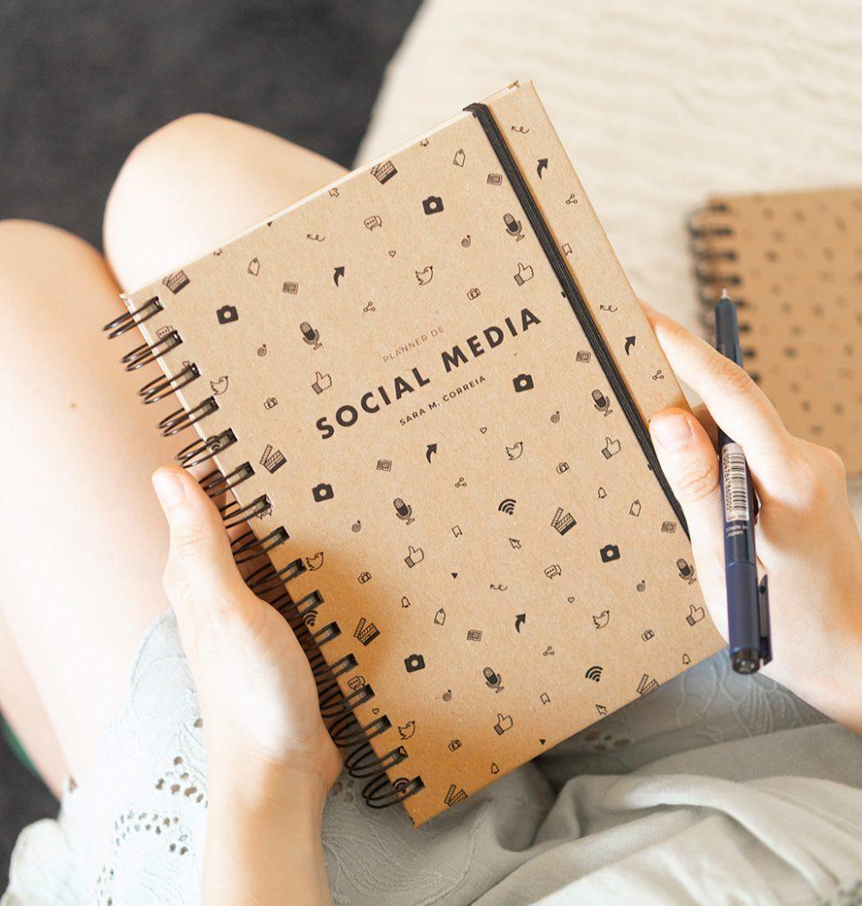Planner Social Media Redes Sociais Caderno Artesanal Kraft Reciclado